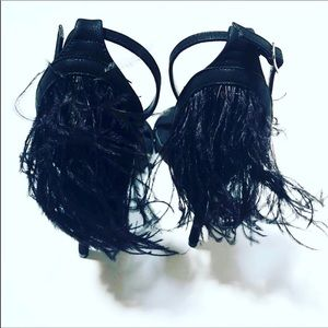Evolving Always Shoes - Sexy Glamorous Strap Heels With Faux Feathers